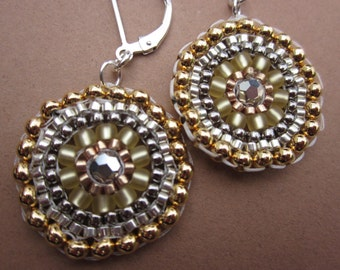 gold and silver medallion seed bead stitched earrings