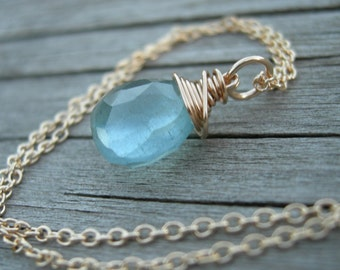 Moss Aquamarine Gold Fill Wire Wrapped Necklace March Birthstone