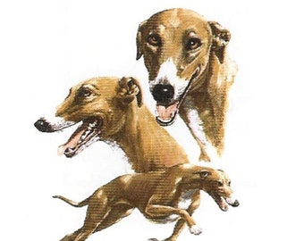 GREYHOUND DOG (Fawn-color) on TWELVE Identical 6 inch Fabric Squares for Quilting and Sewing
