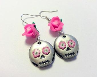 Black and Pink Rose Sugar Skull Handmade Polymer Clay Earrings
