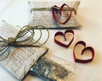 Seeds of Gratitude - Upcycled Handpainted Toilet Paper Roll Pillow Box with Wildflower Seeds and Heart Detail