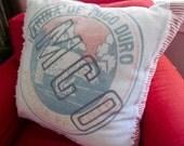 Vintage Flour Grain Sack & Ticking Pillow Cover Polar Bear - Shabby French Cottage Apartment