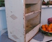 Primitive Metal Bin - Onions Potatoes Storage - Chippy Shabby Vintage Farmhouse Cottage