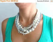 Pearl chunky Statement necklace, rhinestones pearl bridesmaids, multi strand necklace, wedding jewelry with aqua
