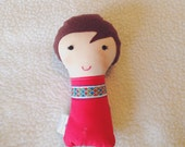 Mini Stuffed Doll, Small Cloth Doll, Handmade Stuffed Dollie, Fabric Soft Doll, Brown Haired Doll, Ready to Ship