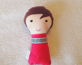 Ready to ship- Mini Stuffed Doll, Small Cloth Doll, Handmade Stuffed Dollie, Fabric Soft Doll, Brown Haired Doll, Ready to Ship