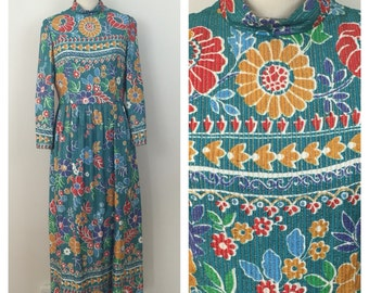 60s Joan Leslie Teal Flower Power Brocade Lurex Maxi Evening Dress, Medium to Large
