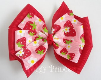 Strawberry Bow - Pink and Red Double Pinwheel - No Slip Velvet Grip Hair Clip