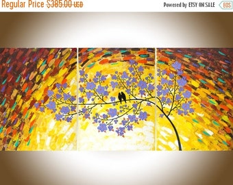 """Large abstract painting purple yellow painting Wall decor Wall art wall hanging canvas painting ready to ship """"Magic Love"""" by qiqigallery"""