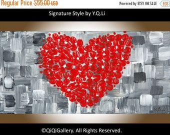 """Valentine's Gift painting Heart Painting wall art home décor canvas art Floral painting impasto palette knife painting """"Love"""" by QiQiGallery"""