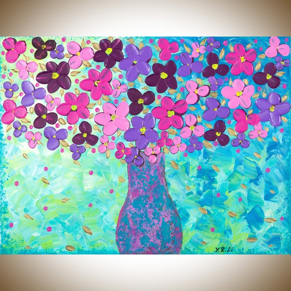 "Original artwork still life painting, green blue purple pink magenta violet wall art Impasto flower art canvas art Acrylic ""Violet Bouquet"""