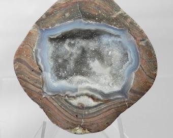 DG-44  Drusy Crystal Dugway Geode  Blue Agate Polished Display Specimen