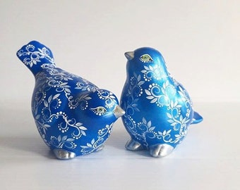 Blue and White Hand Painted Birds Set of Two Wedding Cake Topper Winter Wedding Love Birds