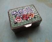 Italian Micro Mosaic Miniature Trinket Pill box Snuff box