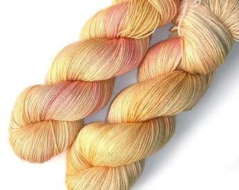 NEW Polwarth Sock Yarn Handdyed, Rosy Sunrise