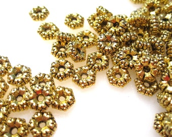 50% Off Beads, Metal Spacers, 50 pcs of Antique Gold 3x5mm Rondelle, 1mm hole, Spacer Beads MB1013 A16