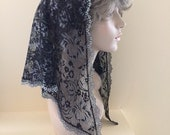 Black and Silver Lace Headcovering - Ready to Ship!