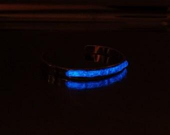Glow in the dark, sterling silver, dichroic glass, cuff, bracelet, novelty