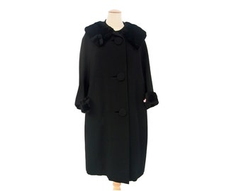 Vintage 1950s Fur Coat Black Wool Huge Buttons Wedding Ring Collar 3/4 Sleeves Size Large XL Mid Century Vintage Clothing