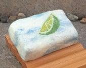 Felted Soap - Lime, Cilantro, Mint - Mojito Scented Cold Process Soap Bar