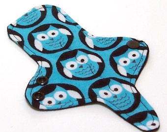ULTRATHIN Reusable Thongliner Cotton Flannel Mini Pad with wings for Every Day - Washable Cotton Flannel - Midnight Owl