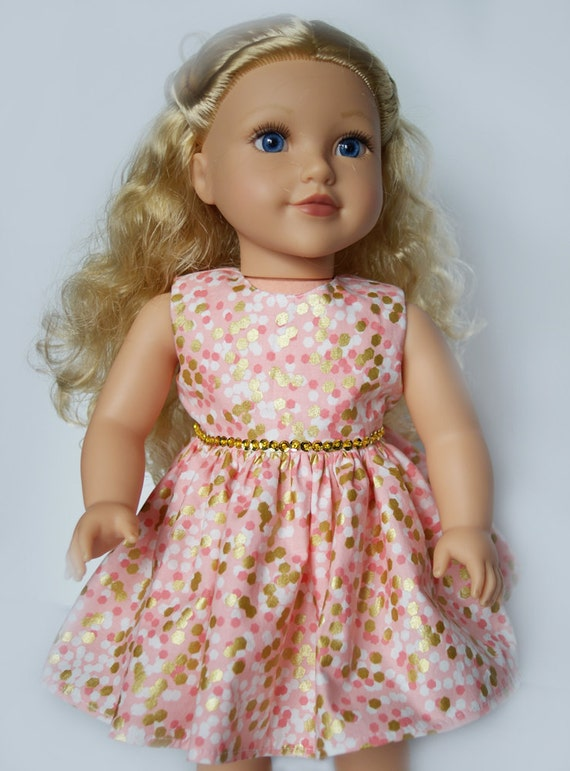 Sleeveless Party Dress in Coral, White and Gold Print for American Girl and other 18-inch Dolls