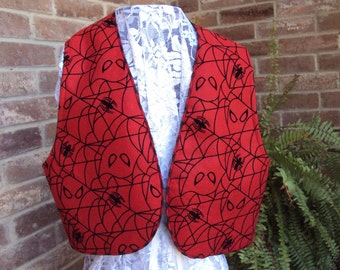 Halloween vest red felt with embossed webs and spiders  adult sizes, treen sizes