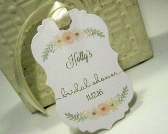 Bridal Shower favor tags - Wedding Favor - Set of 20 - Personalized - Cheers - Custom - Unique - Floral - Watercolor