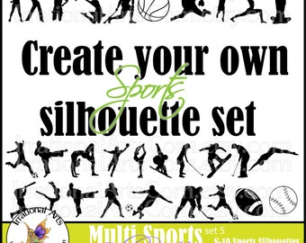 Create Your Own set of Multi Sports Silhouettes - choose 8 - 10 PNG gymnastics, baseball, football, cheer, dance, karate