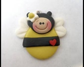New Polymer Clay Girl Bumble Bee Charm Pendant
