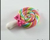 Lollipop Charm Pendant Polymer Clay Swirled Glittered