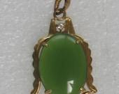 Green Jade Pendant with Diamond