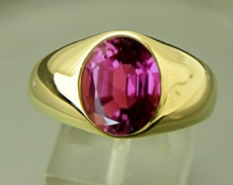 AAAA Rubellite Tourmaline 3.35 carats  10x8mm 14K yellow gold ring  19 grams Man's ring MMM