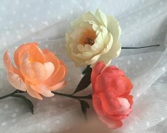 Crepe Paper Flower - Coral Charm Peony - Handmade