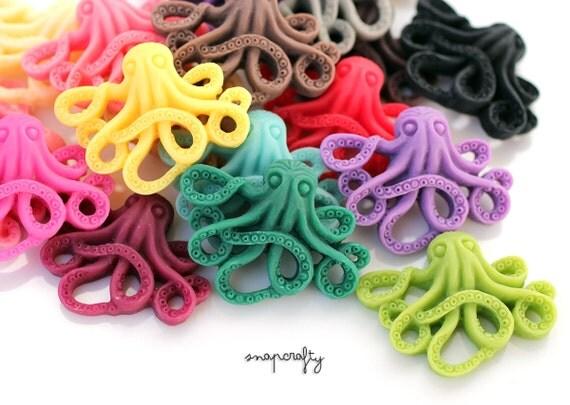 6pc spooky octopus cabochons / matte resin octopus cabs / flatback embellishments / ocean sea animal resin flat back / 35mm