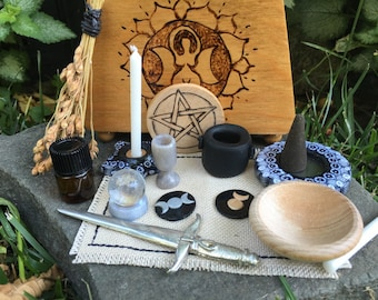 Bookshelf Altar Kit with Triple Moon Goddess
