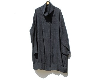 Vintage Black Silk Coat / Fits All Coat Style Top