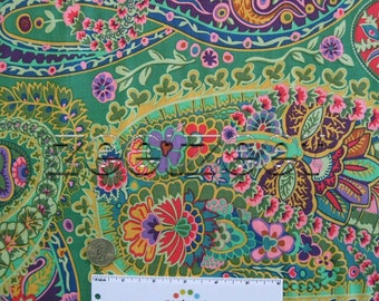 Kaffe Fassett PAISLEY JUNGLE GREEN Gp60 Quilt Fabric by the Yard, Half Yard, or Fat Quarter Fq