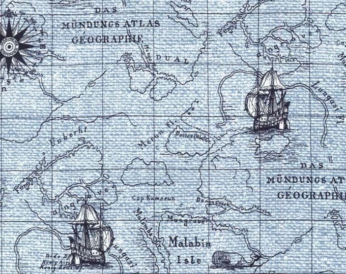 """On Course NAUTICAL WORLD MAP Blue Cotton Quilt Fabric - Precut Remnant 13"""" Long by 45"""" Wide - Fq Sailor Sailing Boat Ship Coastal Maps"""