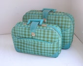 Vintage suitcases set of two green and blue plaid