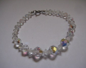 Crystal AB  Swarovski Beads Bracelet with Silvertone Spring Ring Clasp