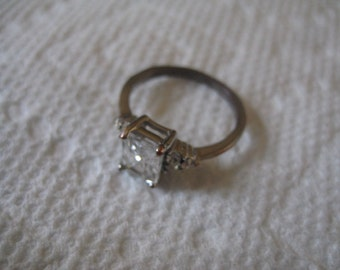 Silver Tone Cubic Zirconia Size 7 1/2 Engagement Ring with Rectangular and Round CZs
