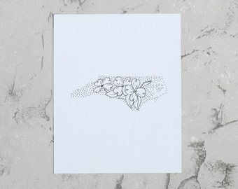 North Carolina> Dogwood Blossom> State Flower Drawing> Giclee Print