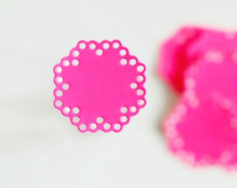 Bright Hot Pink Sweet 16 Party Doily Envelope Seals | Paper Doily Stickers | Hot Pink Doily Embellishments