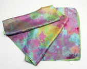 Ice Dyed Silk Scarf Teal Aqua Blue Chartreuse 14x72 Lalique Tiffany Hand Dyed Satin Silk Scarf Xlg1