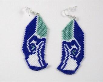 SEAHAWK Beaded Earrings In Peyote stitch