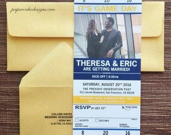 Sport Ticket Invitation with RSVP tear-off stub / Wedding / Birthday / Bat Mitzvah / Party