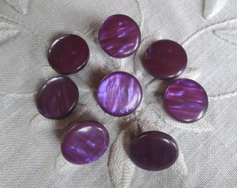 "Purple Buttons Set of 8 NOS 7/8"" Inch Vintage Iridescent Pearlized Pearly Plastic Self Shank Buttons"