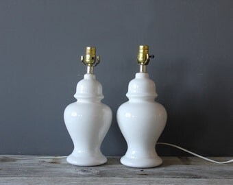 Pair of White Ceramic Ginger Jar Urn Lamp