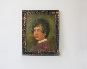 Original Midcentury Portrait in Frame